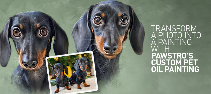 Transform a photo into an artistic painting with Pawstro's custom pet oil painting