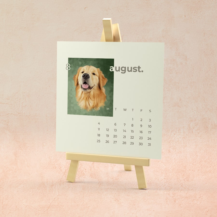 August month calender with dogs painting