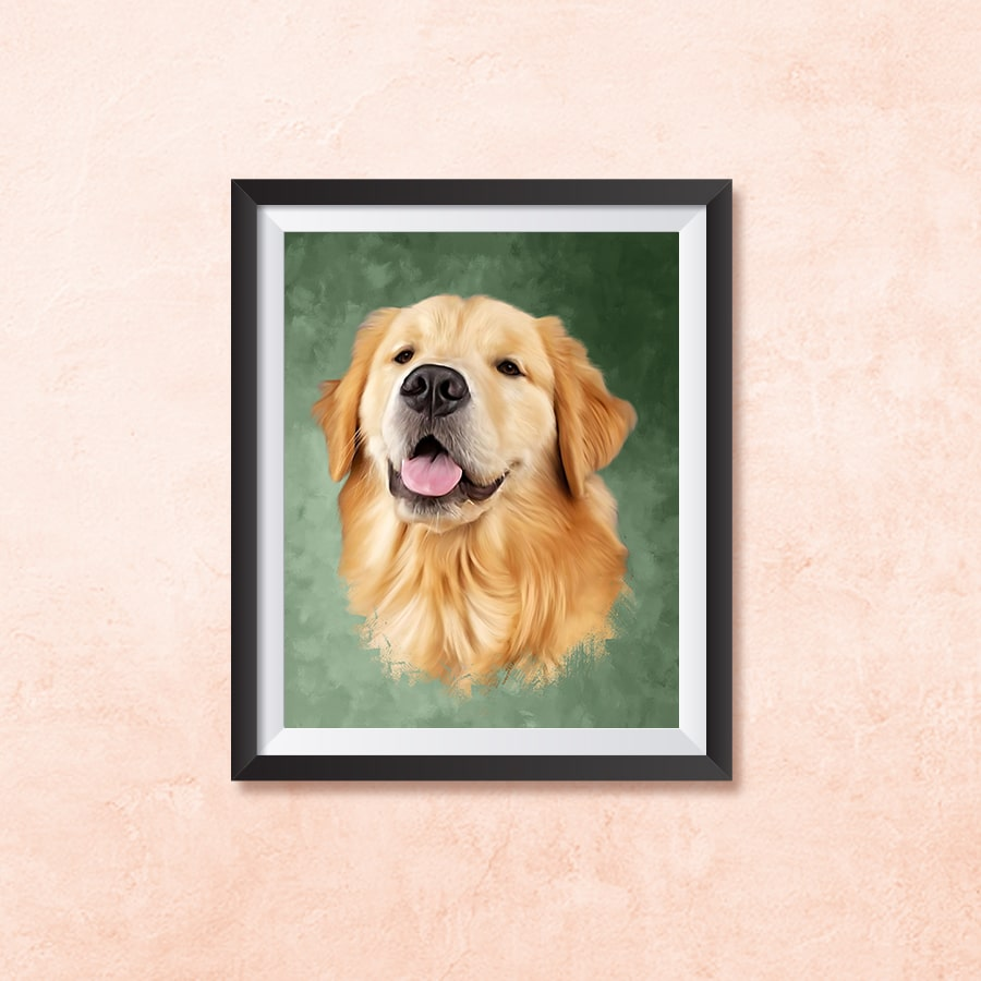 Digital Oil Painting Frame on a wall with a dogs face