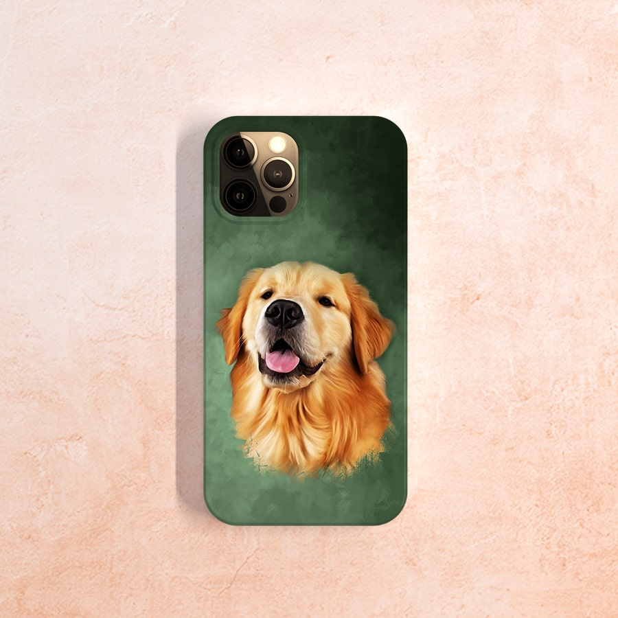 Dog's face digital oil painting with a green background as a phone case