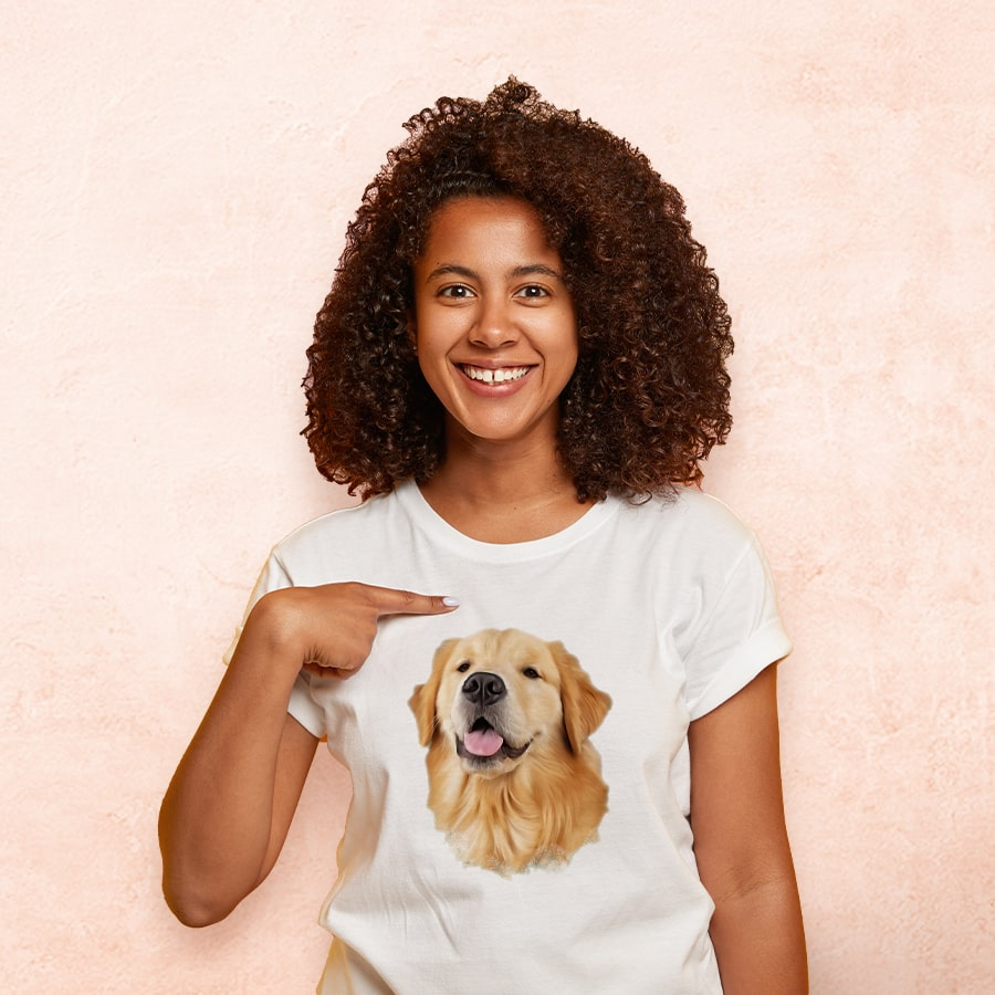 Girl wearing white tshirt with dog oil painting