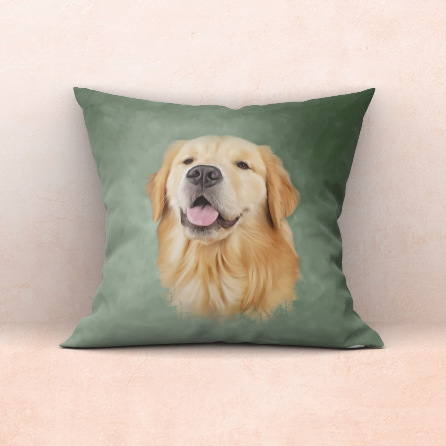 Dog Portrait Painting with a green background on a cushion